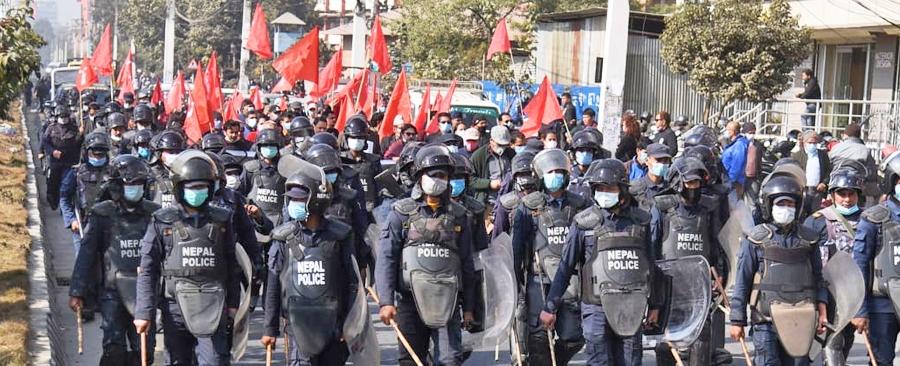 काठमाडौंमा २३ दलीय मोर्चाको विरोध प्रदर्शन